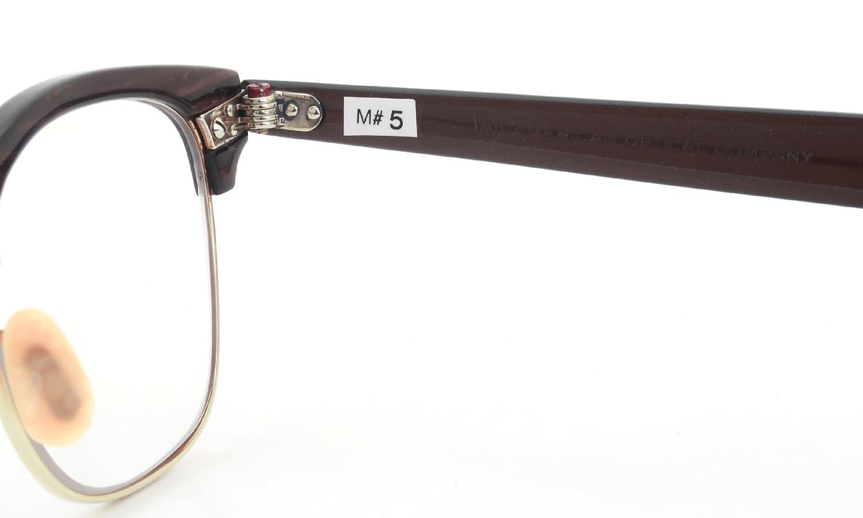 American Optical vintage 1950s~1960s マルコムXモデル type:2 ウイング鋲  BrownWood/Gold 46-22