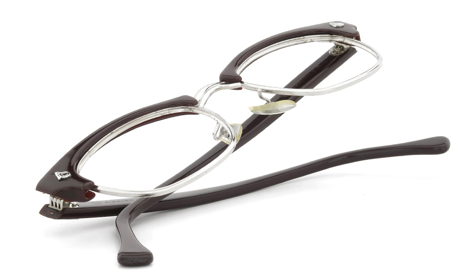 American Optical 1960s〜1980s Brow Combination AO鋲 Brown/Silver 48-20