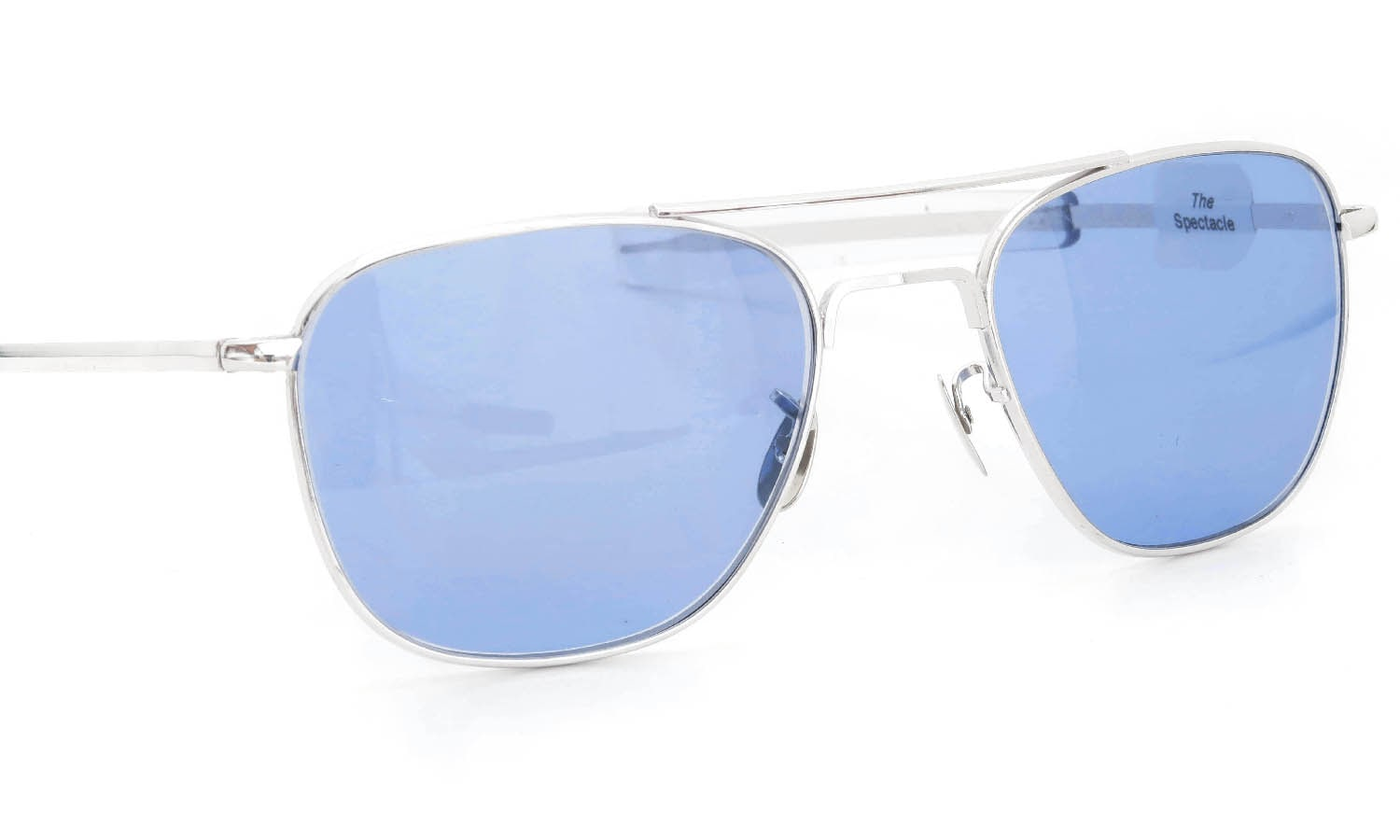 American Optical vintage 1950s〜1960s Mid-Century-Modern-Pilot White-Gold 1/10 12KGF Light-Blue-Lens 12kPads