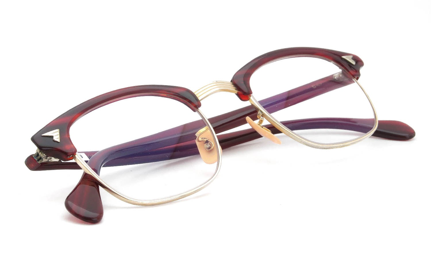 American Optical 1950s〜1960s SIRMONT Maroon-Gold 1/10 12KGF 46-22