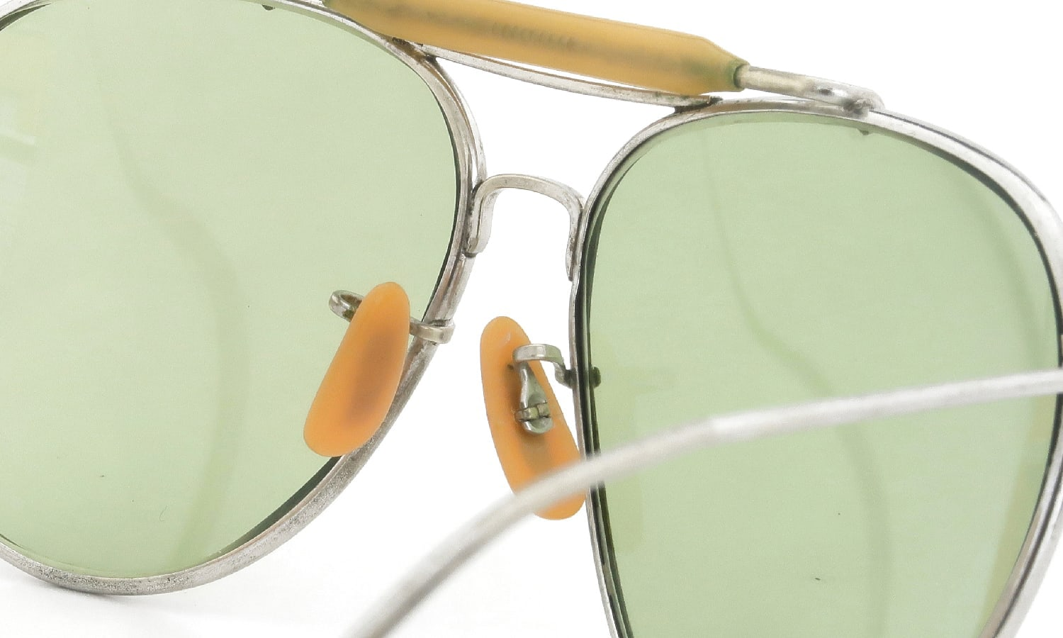 Bausch&Lomb vintage USSAC 1940s Aviator Silver Army-Green-Lens with-Case