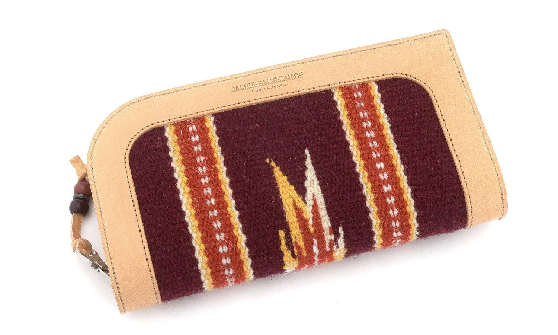JACQUESMARIEMAGE RED CLOUD NOIR JMMRC-01 チマヨ織りとレザーを用いたハンドメイドのアイウェアケース(チマヨウォレット)