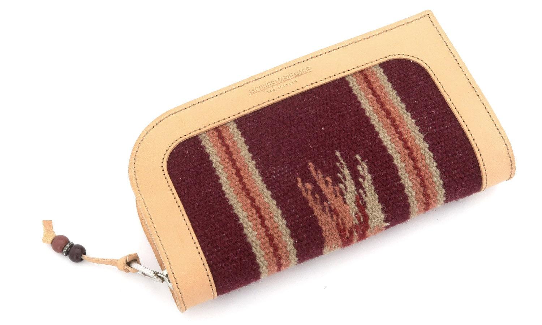 JACQUESMARIEMAGE LARAMIE RESERVE JMMLR-3S 2/50 チマヨ織りとレザーを用いたハンドメイドのアイウェアケース(チマヨウォレット)